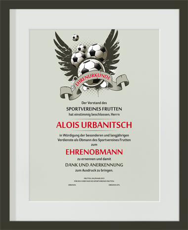 Urkunde Sportverein modern