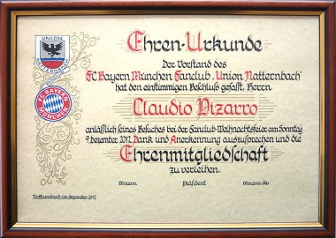Ehrenurkunde Claudio Pizarro